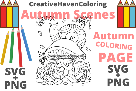 Print on Demand: Autumn Coloring Page #4 Graphic Coloring Pages & Books Adults By creativehavencoloring