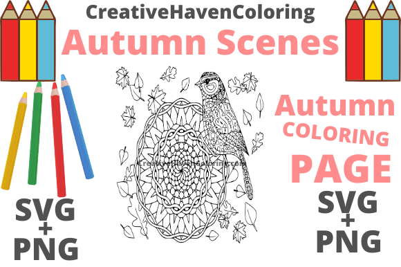 Print on Demand: Autumn Coloring Page #6 Graphic Coloring Pages & Books Adults By creativehavencoloring