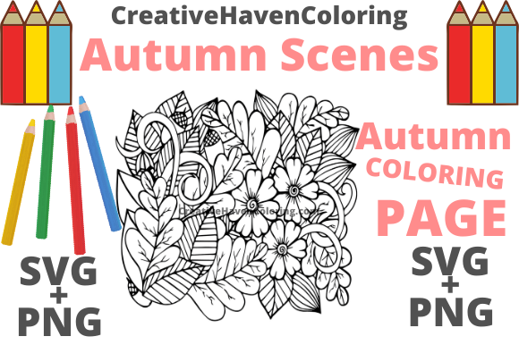 Print on Demand: Autumn Coloring Page #8 Graphic Coloring Pages & Books Adults By creativehavencoloring