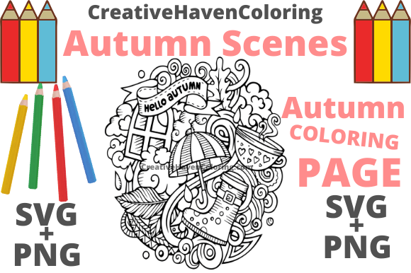 Print on Demand: Autumn Coloring Page #9 Graphic Coloring Pages & Books Adults By creativehavencoloring - Image 1