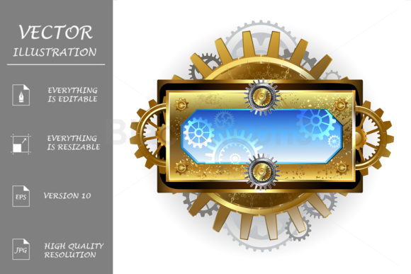 Banner with Gears on a White Background Graphic Illustrations By Blackmoon9