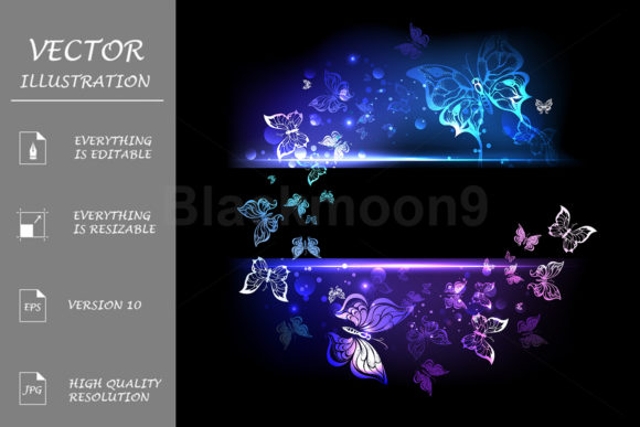 Banner with Glowing Butterflies Graphic Illustrations By Blackmoon9
