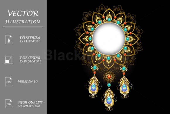 Banner with Gold Peacock Feathers Graphic Illustrations By Blackmoon9