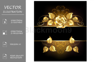 Banner with Golden Rose Graphic Illustrations By Blackmoon9