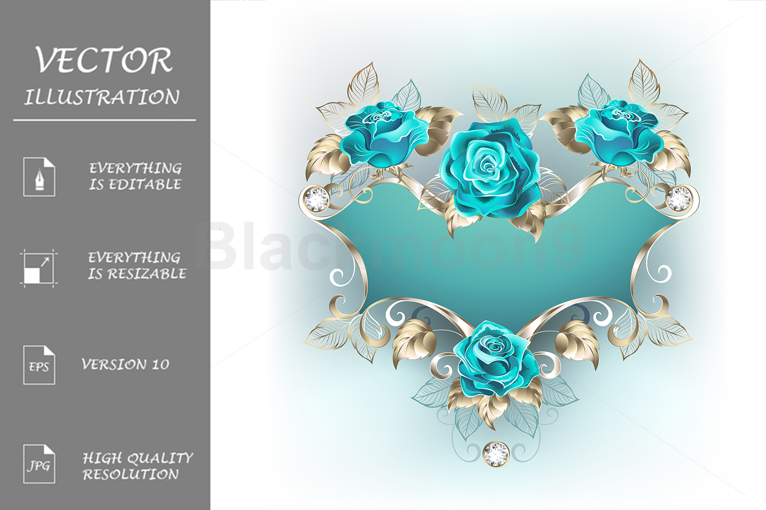 Download Free Banner With Turquoise Roses Graphic By Blackmoon9 Creative Fabrica for Cricut Explore, Silhouette and other cutting machines.