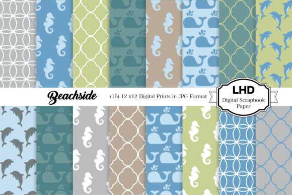Download Free Beach Days Beachside Digital Papers Graphic By Leskahamatydesign Creative Fabrica SVG Cut Files