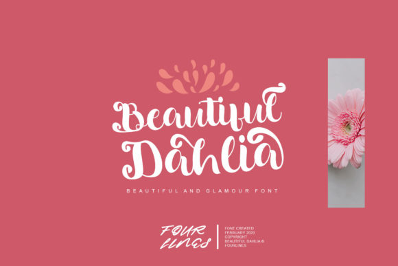 Download Free Beautiful Dahlia Font By Fourlines Design Creative Fabrica for Cricut Explore, Silhouette and other cutting machines.