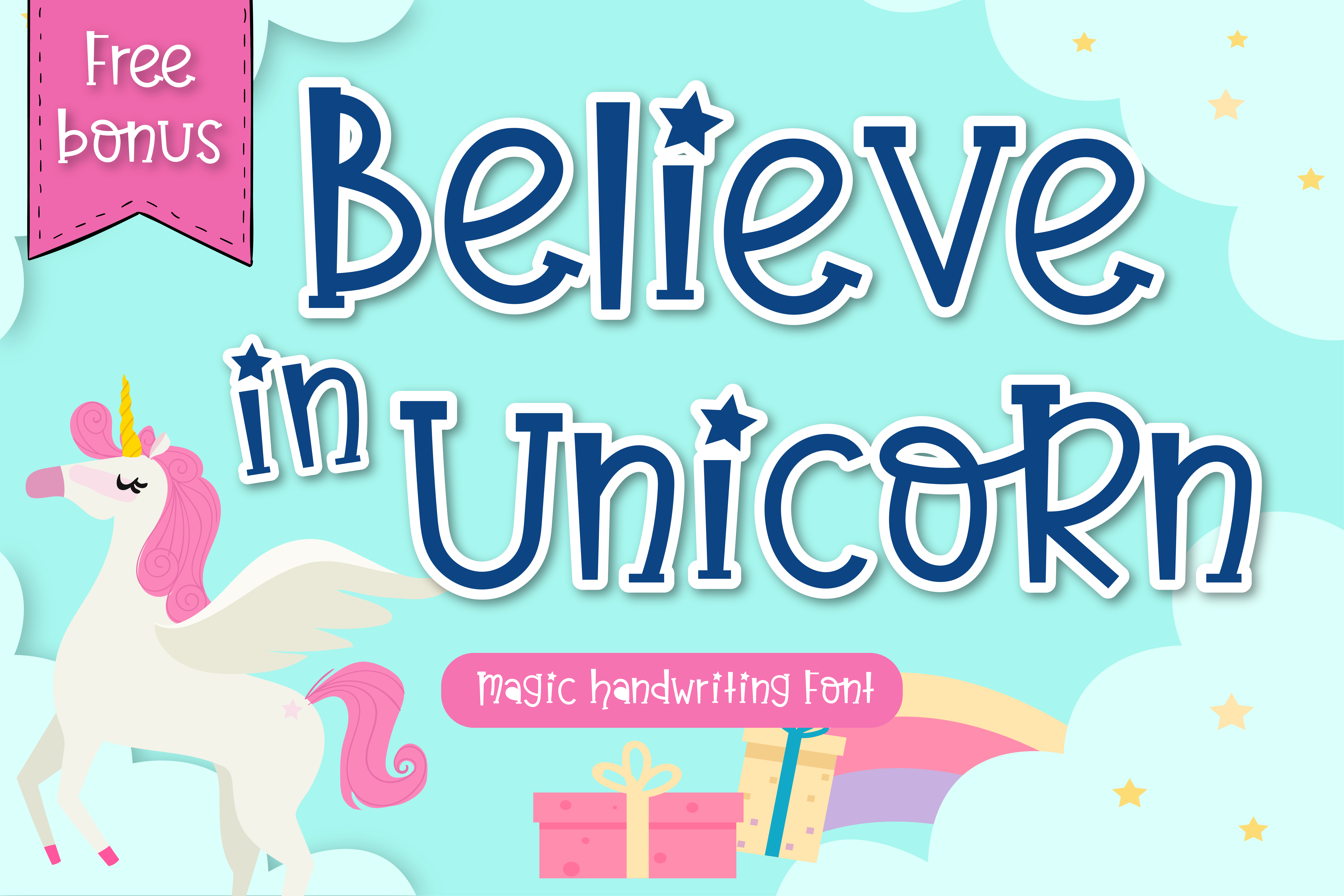 Download Free Believe In Unicorn Font By Vividdiy8 Creative Fabrica for Cricut Explore, Silhouette and other cutting machines.