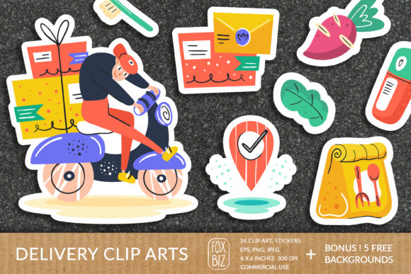 Print on Demand: Big Delivery Clipart Prints Stickers Graphic Objects By FoxBiz
