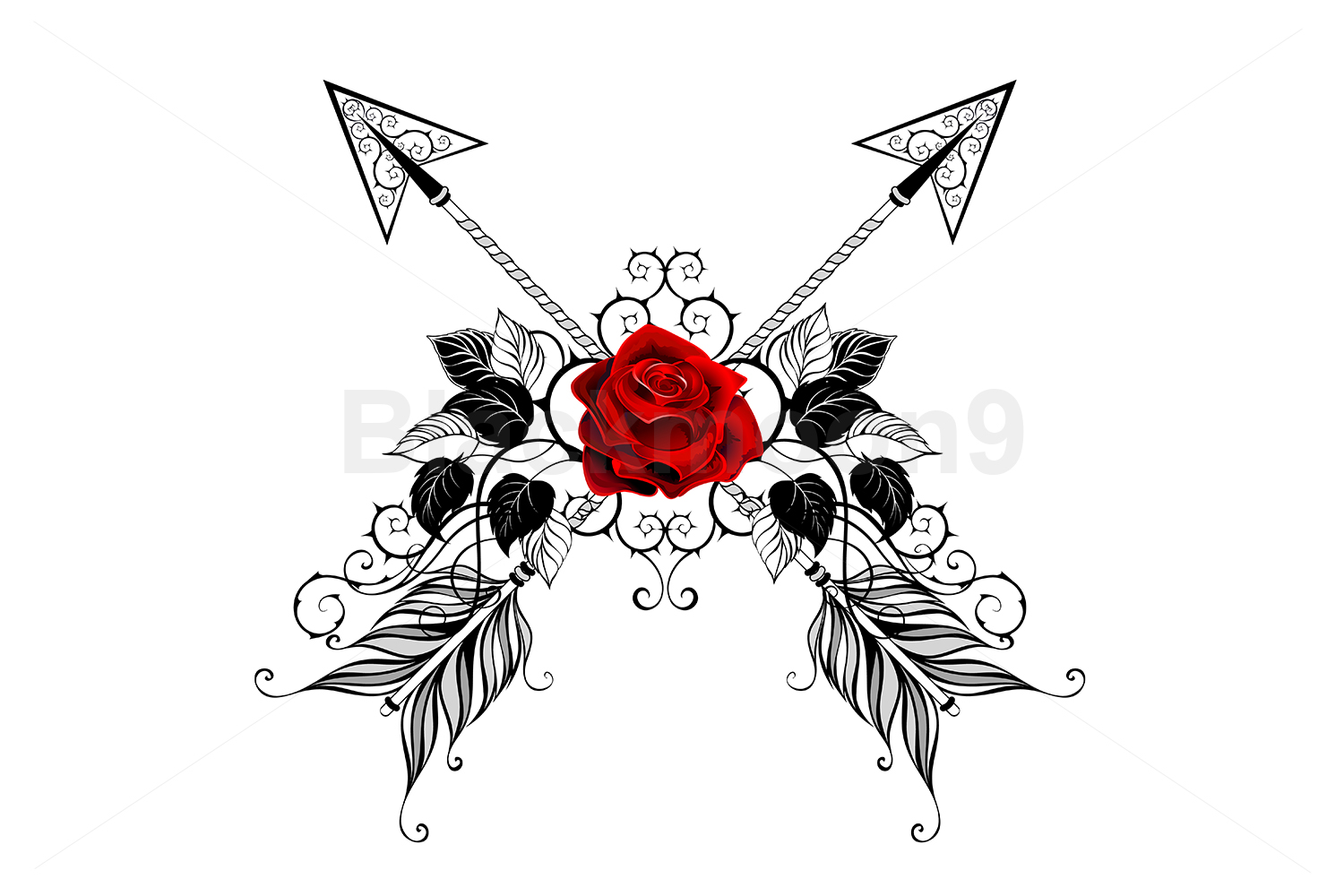 Download Free Black Arrows With Red Roses Graphic By Blackmoon9 Creative Fabrica for Cricut Explore, Silhouette and other cutting machines.