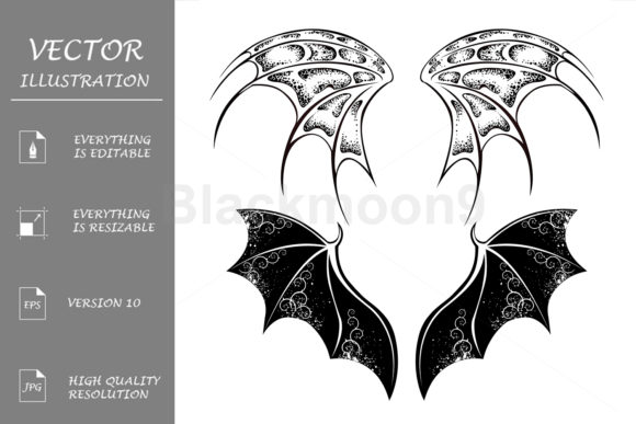 Download Free Black Dragon Wings Graphic By Blackmoon9 Creative Fabrica for Cricut Explore, Silhouette and other cutting machines.