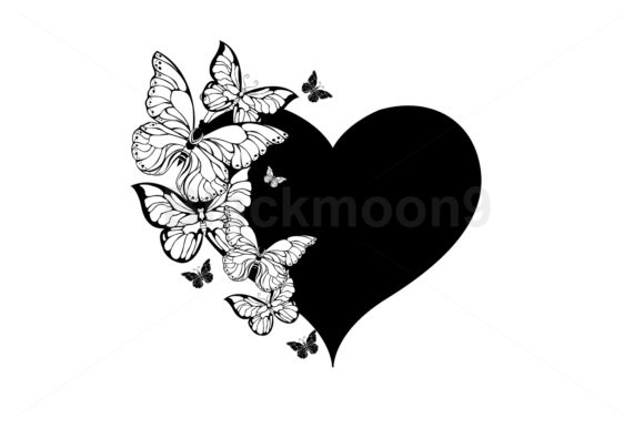 Black Heart with Contour Butterflies Graphic Illustrations By Blackmoon9