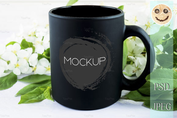 Download Free Black Coffee Mug Mockup Apple Blossom Graphic By Tasipas for Cricut Explore, Silhouette and other cutting machines.