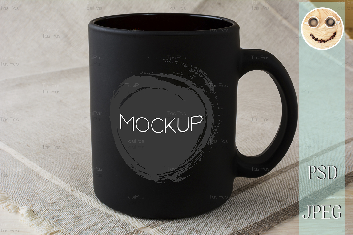 Download Free Black Coffee Mug Mockup On Linen Napkin Graphic By Tasipas for Cricut Explore, Silhouette and other cutting machines.