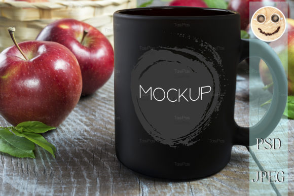 Print on Demand: Black Coffee Mug Mockup with Apples. Graphic Product Mockups By TasiPas