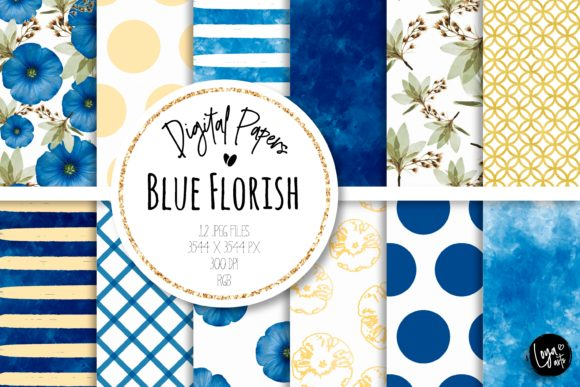 Print on Demand: Blue Florish Digital Paper Set Graphic Backgrounds By loyaarts