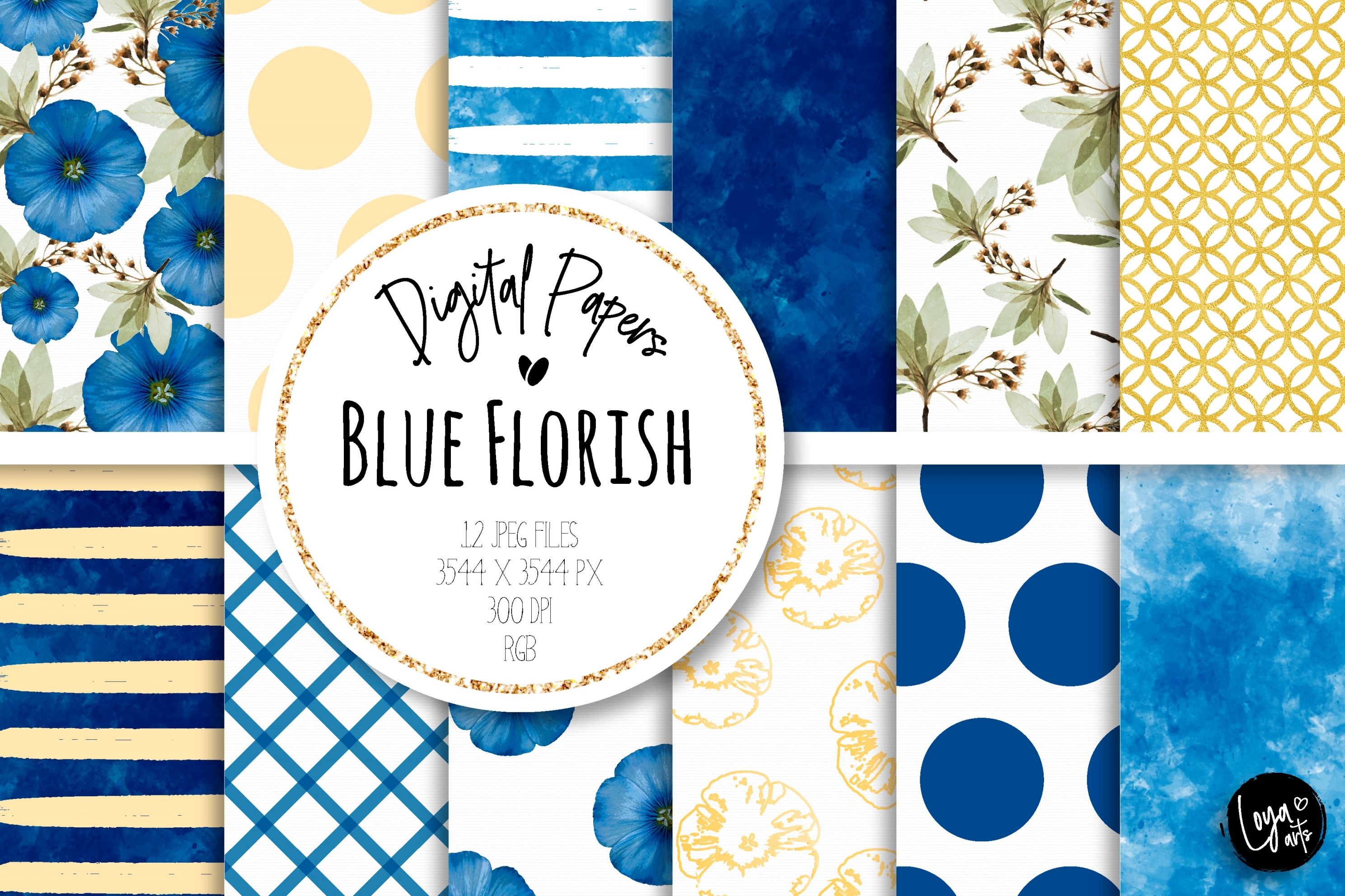 Download Free Blue Florish Digital Paper Set Graphic By Loyaarts Creative for Cricut Explore, Silhouette and other cutting machines.