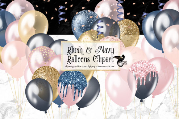 Print on Demand: Blush and Navy Balloons Clipart Graphic Illustrations By Digital Curio - Image 1