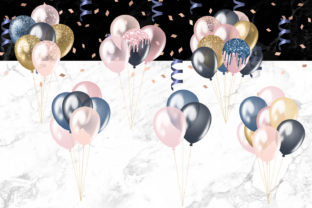 Print on Demand: Blush and Navy Balloons Clipart Graphic Illustrations By Digital Curio 2