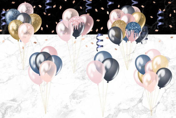 Print on Demand: Blush and Navy Balloons Clipart Graphic Illustrations By Digital Curio - Image 2