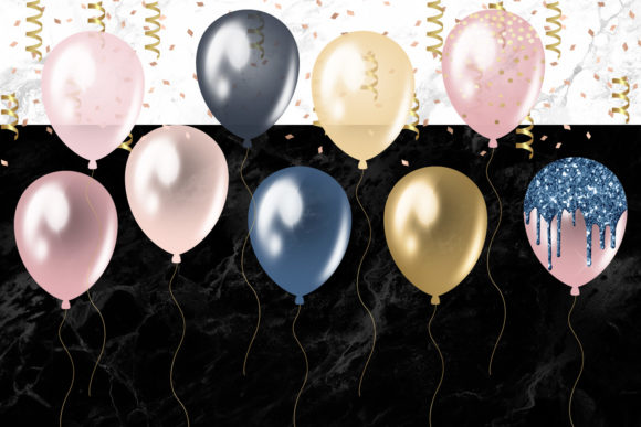 Print on Demand: Blush and Navy Balloons Clipart Graphic Illustrations By Digital Curio - Image 3