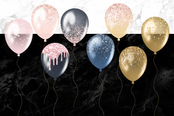 Print on Demand: Blush and Navy Balloons Clipart Graphic Illustrations By Digital Curio - Image 4