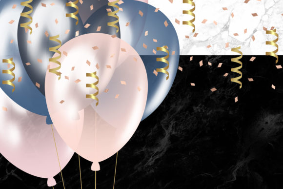 Print on Demand: Blush and Navy Balloons Clipart Graphic Illustrations By Digital Curio - Image 5
