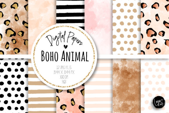 Print on Demand: Boho Animal Digital Paper Set Grafik Hintegründe von loyaarts