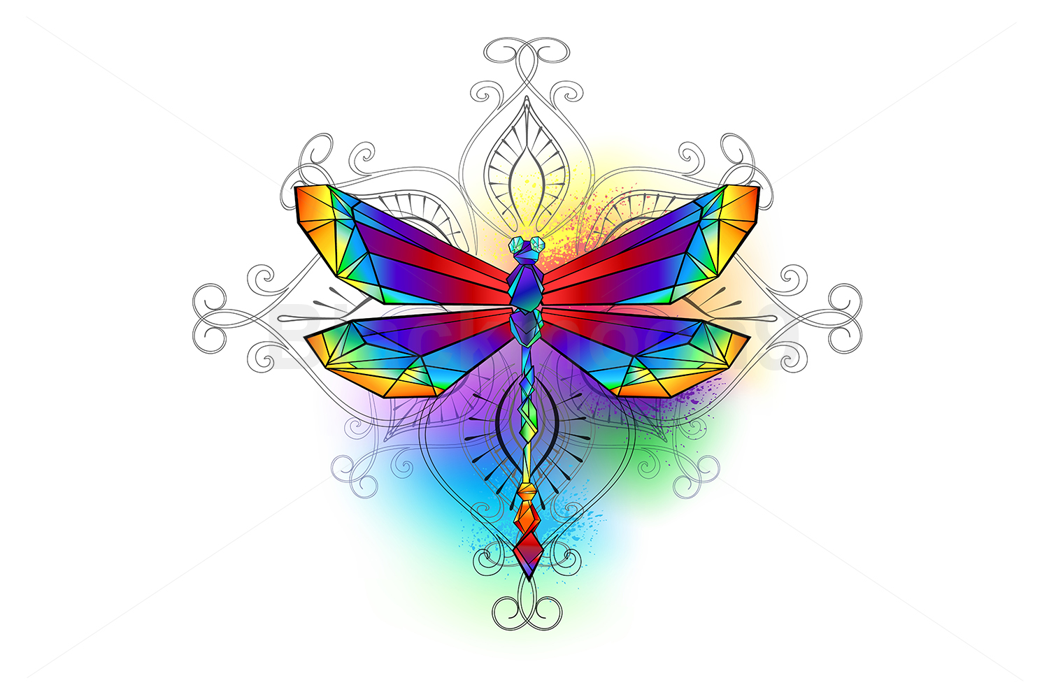 Download Free Bright Polygonal Dragonfly Graphic By Blackmoon9 Creative Fabrica for Cricut Explore, Silhouette and other cutting machines.