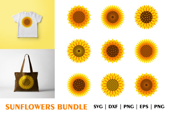 Download Free Bundle Of Bright Sunflowers Cutting File Graphic By Julimur2020 for Cricut Explore, Silhouette and other cutting machines.