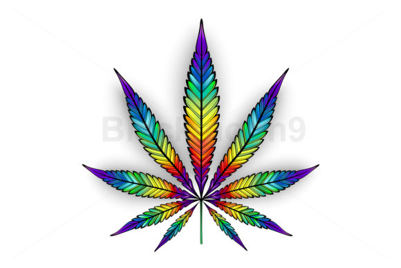 Cannabis Rainbow Leaf Graphic Illustrations By Blackmoon9