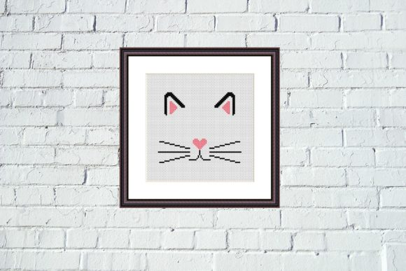 Cat Face Cross Stitch Cute Animals Graphic Cross Stitch Patterns By e6702 - Image 1