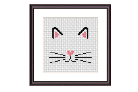 Cat Face Cross Stitch Cute Animals Graphic Cross Stitch Patterns By e6702 - Image 2