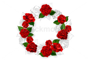 Circle of Red Roses Graphic Illustrations By Blackmoon9