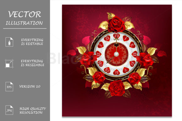 Clock with Red Roses Grafik Illustrationen von Blackmoon9