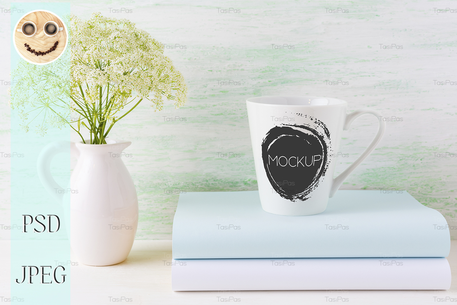 Download Free Coffee Mug Mockup Light Green Latte Shap Graphic By Tasipas for Cricut Explore, Silhouette and other cutting machines.