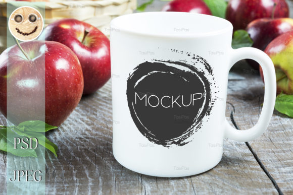 Print on Demand: Coffee Mug Mockup with Apples Graphic Product Mockups By TasiPas