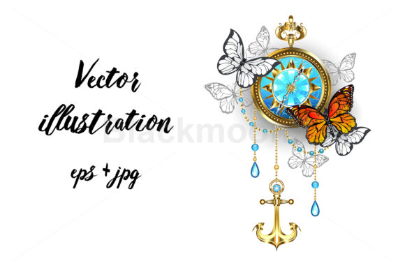 Compass with Butterflies Graphic Illustrations By Blackmoon9