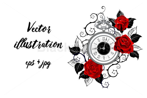 Contour Clock with Red Roses Graphic Illustrations By Blackmoon9