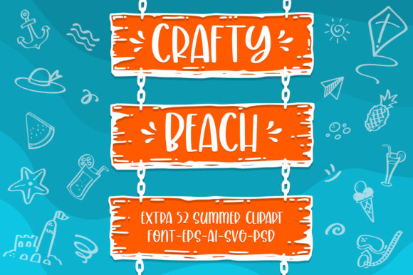 Print on Demand: Crafty Beach Script & Handwritten Font By Abodaniel