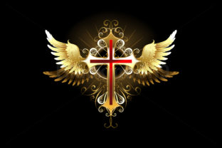 Cross with Golden Wings Graphic Illustrations By Blackmoon9