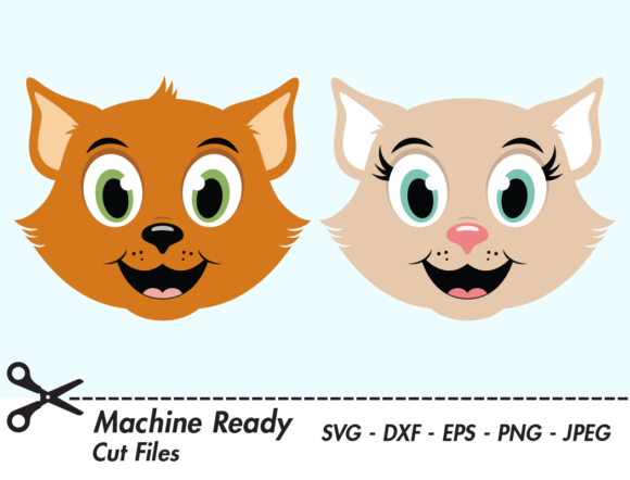Download Free Cute Cat Faces Graphic By Captaincreative Creative Fabrica for Cricut Explore, Silhouette and other cutting machines.