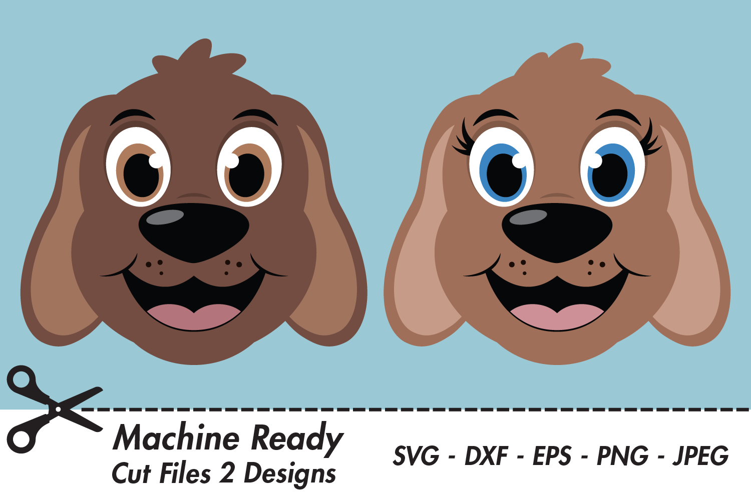 Download Free Cute Dog Faces Graphic By Captaincreative Creative Fabrica for Cricut Explore, Silhouette and other cutting machines.