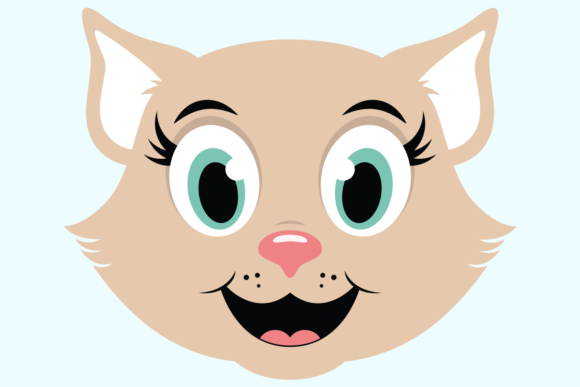 Download Free Cute Girl Cat Face Graphic By Captaincreative Creative Fabrica for Cricut Explore, Silhouette and other cutting machines.