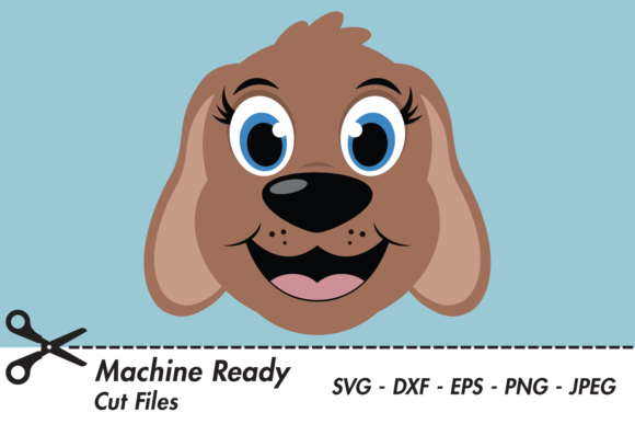 Download Free Cute Girl Dog Face Graphic By Captaincreative Creative Fabrica for Cricut Explore, Silhouette and other cutting machines.