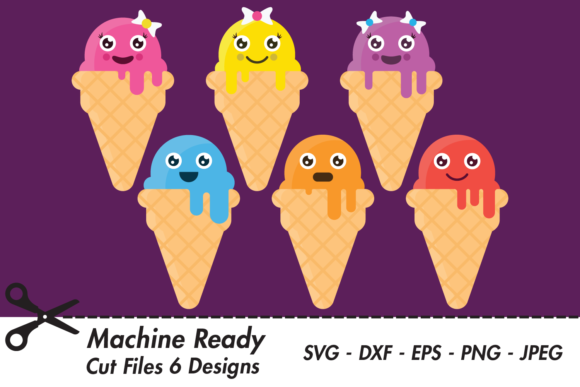 Download Free Cute Ice Cream Cones Graphic By Captaincreative Creative Fabrica for Cricut Explore, Silhouette and other cutting machines.