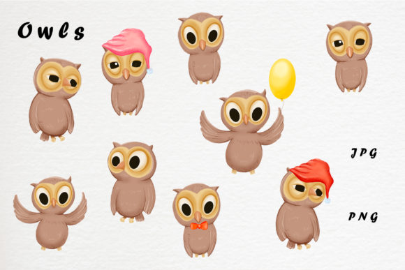 Download Free Cute Owls Clipart And Patterns Graphic By Gennadii Art Creative Fabrica for Cricut Explore, Silhouette and other cutting machines.