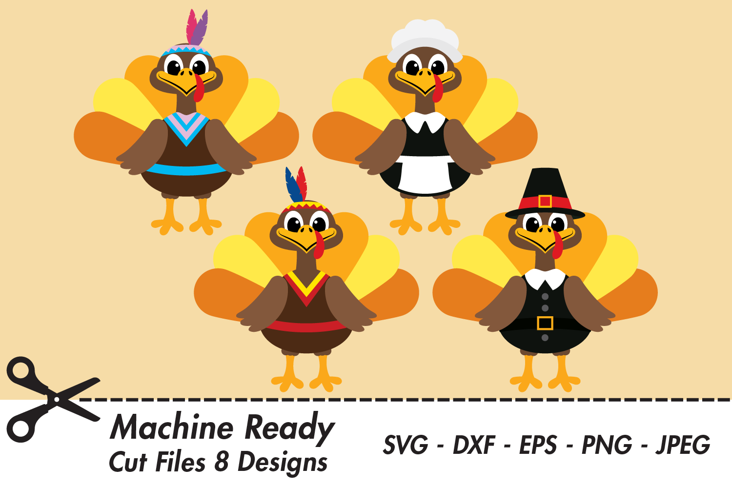 Download Free Cute Thanksgiving Turkey Bundle Graphic By Captaincreative for Cricut Explore, Silhouette and other cutting machines.