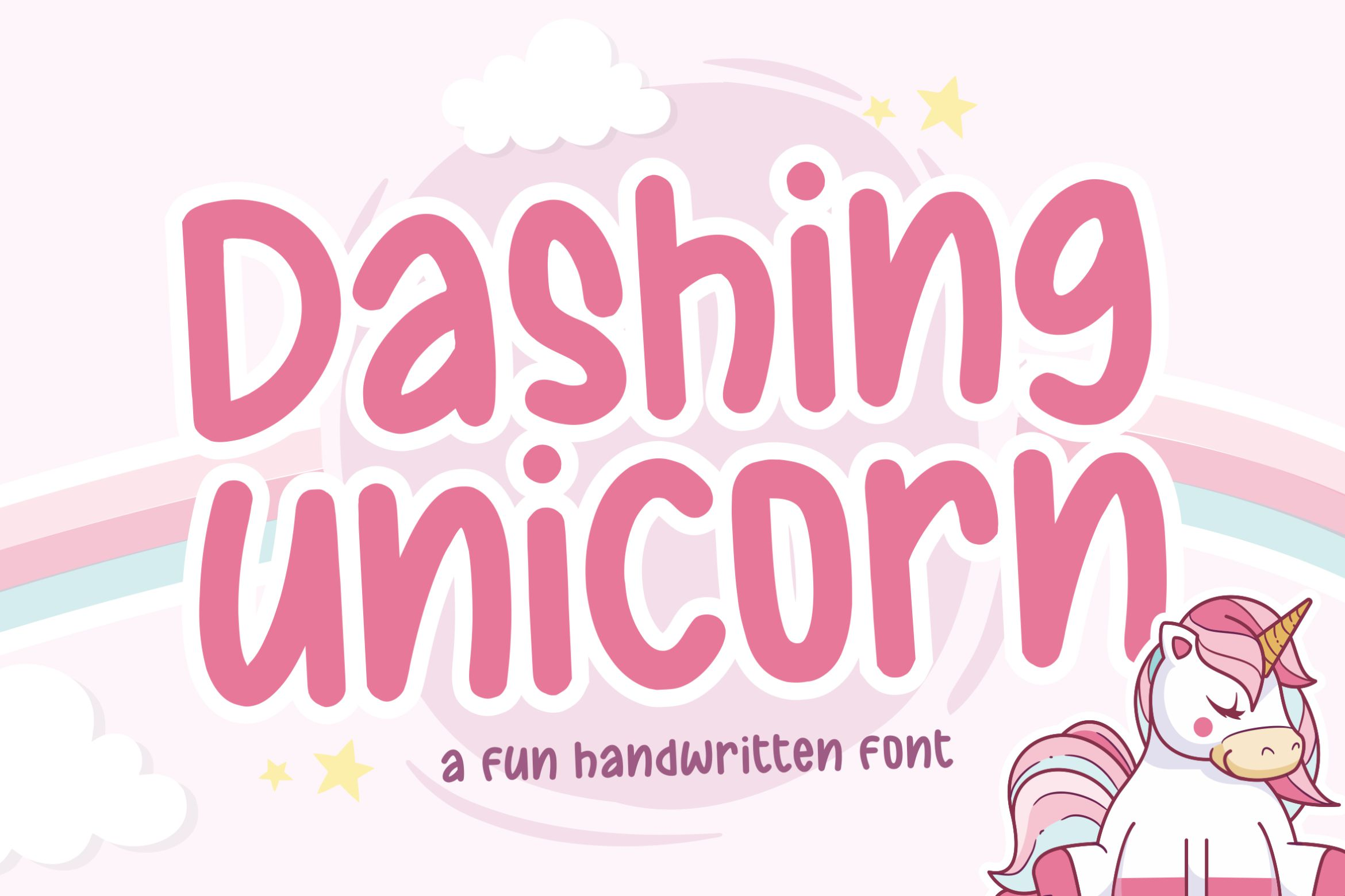 Download Free Dashing Unicorn Font By Balpirick Creative Fabrica for Cricut Explore, Silhouette and other cutting machines.