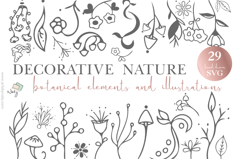 Download Free Decorative Nature Botanical Elements Graphic By Artsbynaty for Cricut Explore, Silhouette and other cutting machines.